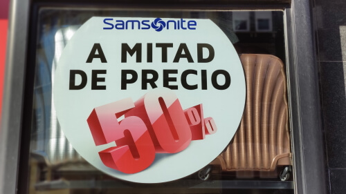 50% de descuento en maletas Samsonite