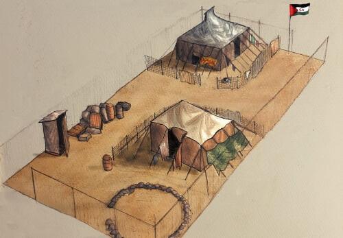 Recreación campo saharaui. Colectivo Noz. Rede Acampa