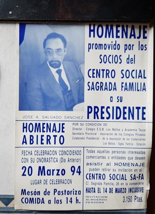 Cartel Homenaje a Salgado del Centro Social Sagrada Familia